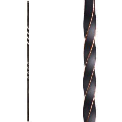 Twist and Basket 44 in. x 0.5 in. Oil Rubbed Copper Double Twist Hollow Wrought Iron Baluster