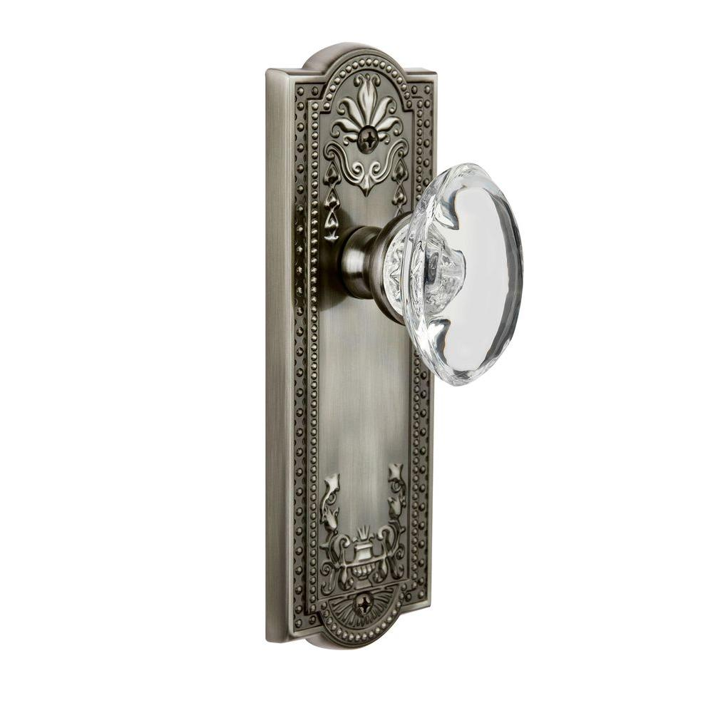 null Grandeur Antique Pewter Privacy Parthenon Plate with Provence Crystal Knob