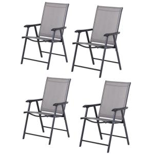 4-Piece Chic Design Metal Outdoor Dining Chair Set with Grey Seat and a Folding Design for Storage/Transport