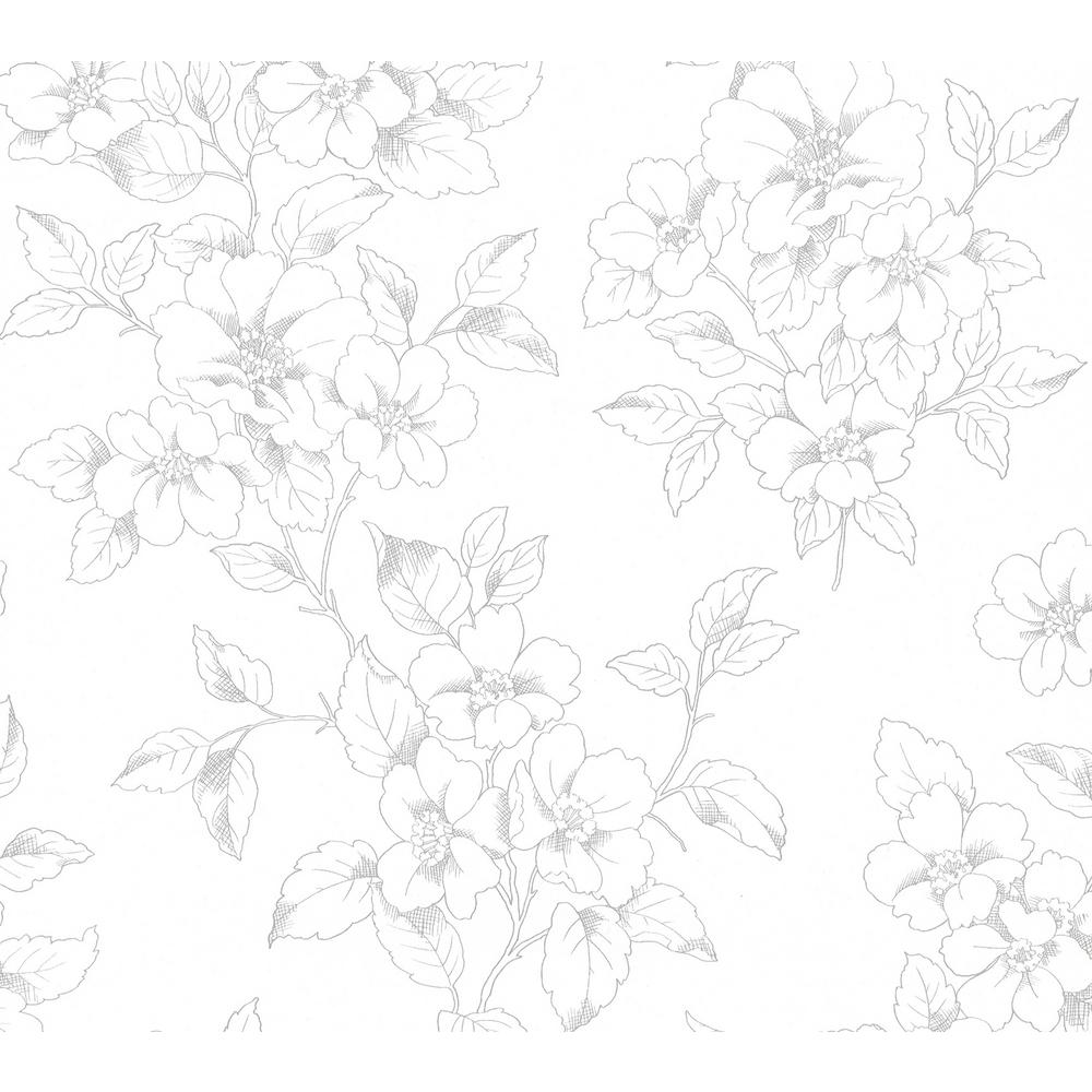 Romeo Off-White Floral Trail Off-White Wallpaper Sample