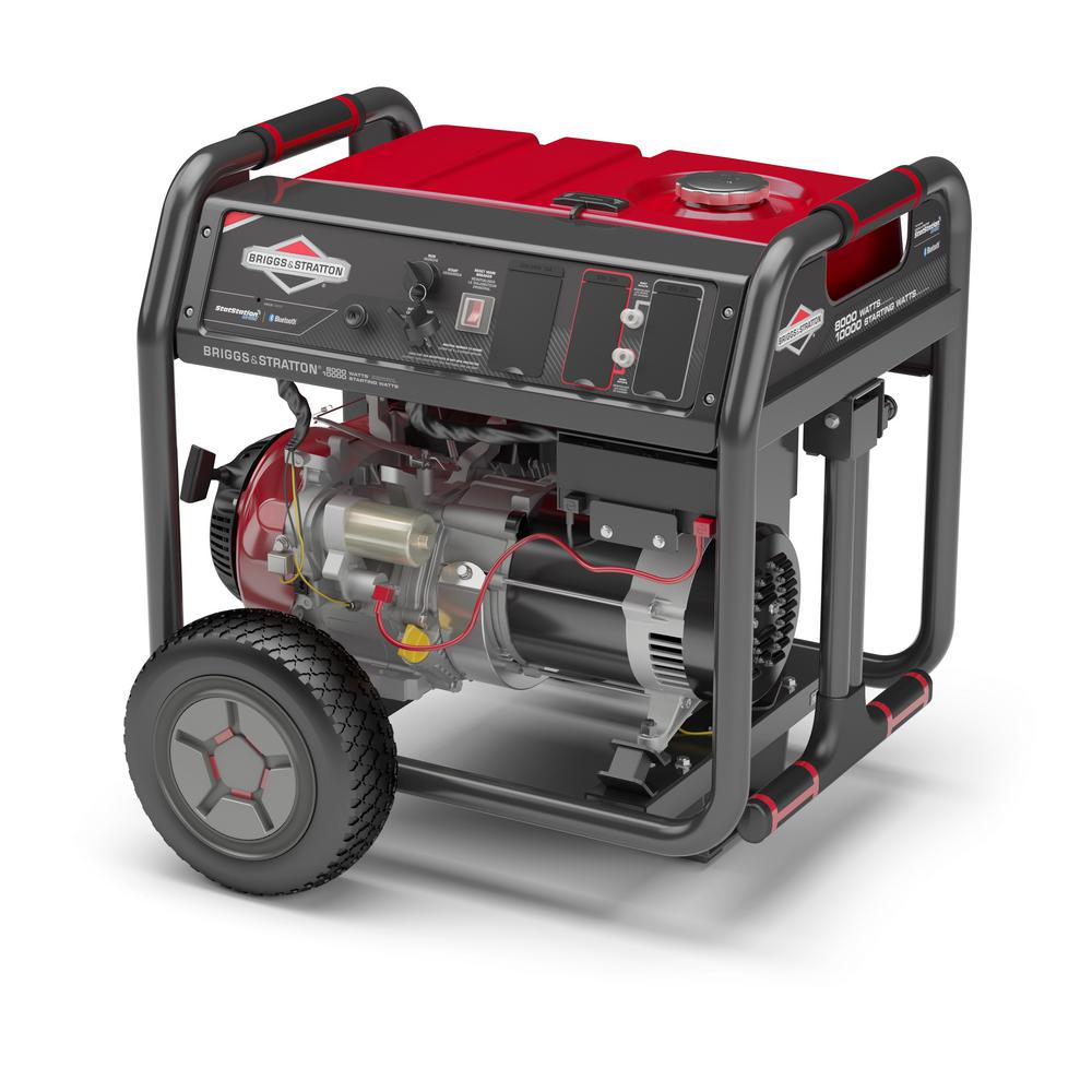 Briggs & Stratton 8,000-Watt Gasoline Powered Key Start Bluetooth Connected  Portable Generator with 420cc OHV Engine
