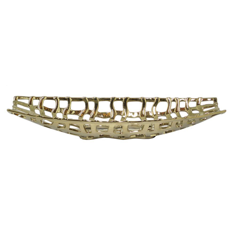 Decorative Pierced Gold Ceramic Platter