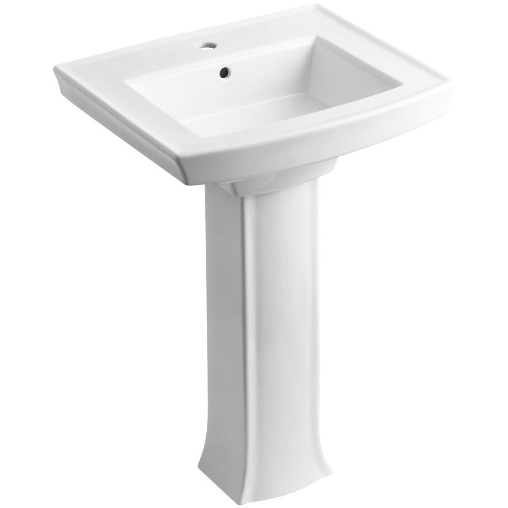 Kohler Archer Vitreous China Pedestal Combo Bathroom Sink In White With Overflow Drain K 2359 1