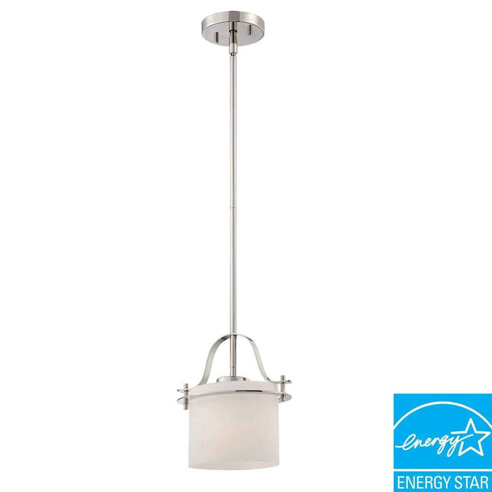 1-Light Polished Nickel Mini Pendant with Oval Frosted Glass Shade