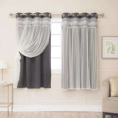 Dark Grey 63 in. L Elis Lace Overlay Blackout Curtain Panel (2-Pack)