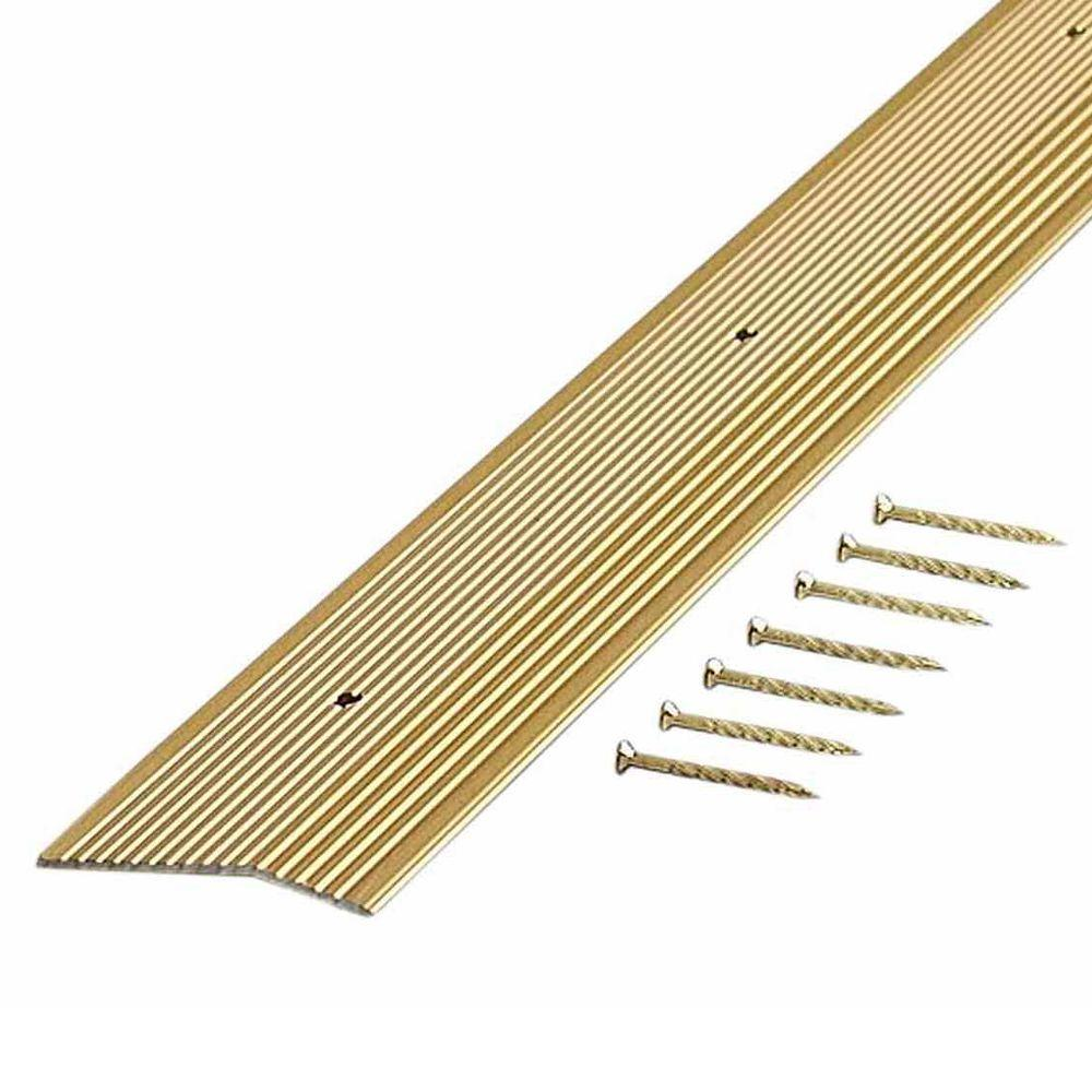 Satin Brass Fluted 36 in. x 1-3/8 in. Carpet Trim