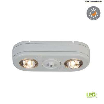 Revolve White Twin Head Dusk to Dawn Outdoor Integrated LED Security Flood Light with Photocell Sensor, 5000K Daylight