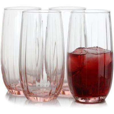 Lotus 16.9 oz. Pink Cooler Glass (4-Piece)