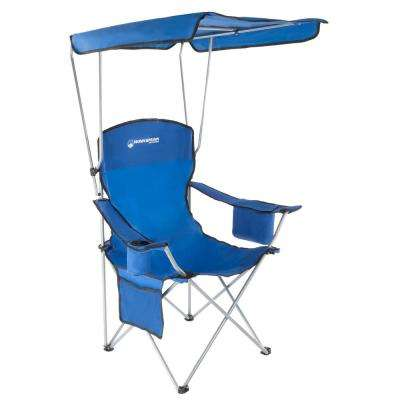 Blue Heavy-Duty Camp Chair with Sun Canopy