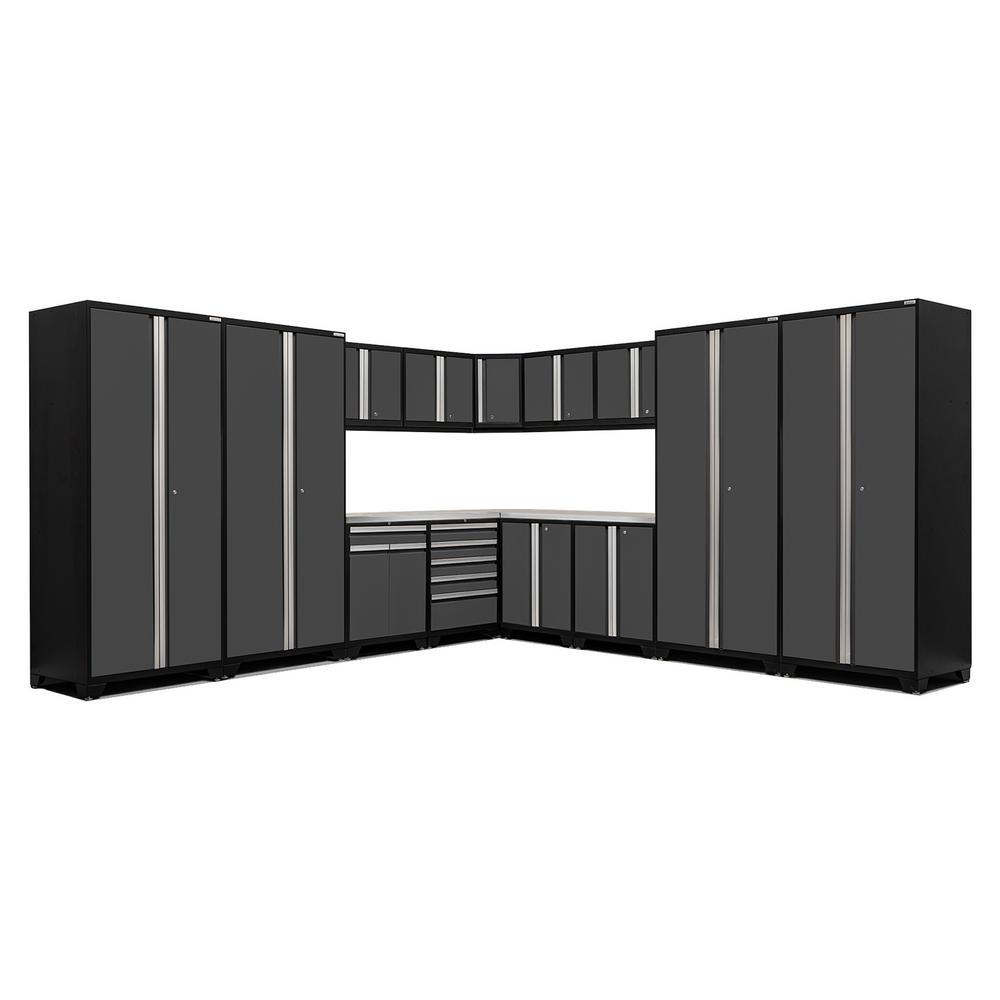 Pro 3.0 83.25 in. H x 280 in. W x 24 in. D 18-Gauge Welded Steel Stainless Steel Worktop Cabinet Set in Gray (16-Piece)