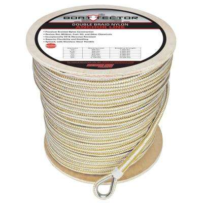 1/2 in. x 600 ft. BoatTector Double Braid Nylon Anchor Line with Thimble in White and Gold