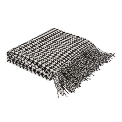 60 in. L Acrylic Black/White Houndstooth Woven Throw