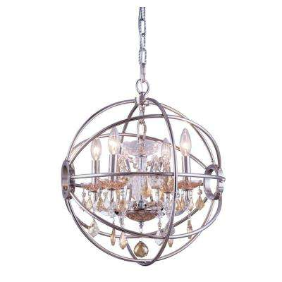 Geneva 4-Light Polished Nickel Chandelier with Golden Teak Smoky Crystal