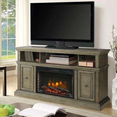 McCrea 56 in. Media Electric Fireplace in Dark Weathered Gray