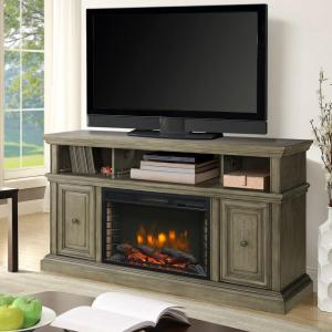 Warm your home and add ambiance by choosing this classic Muskoka McCrea Media Electric Fireplace in Dark Weathered Gray.
