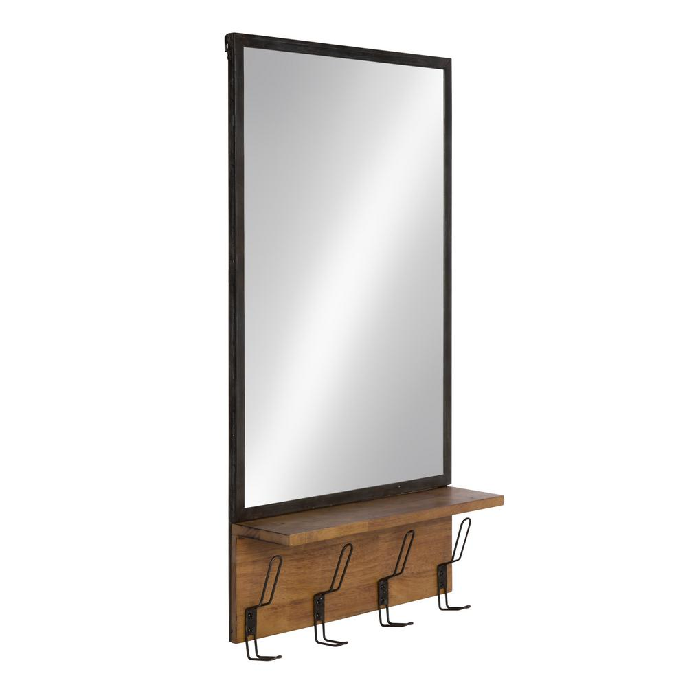Kate And Laurel Coburn Metal Mirror With Wood Shelf Hooks Other Rustic Brown