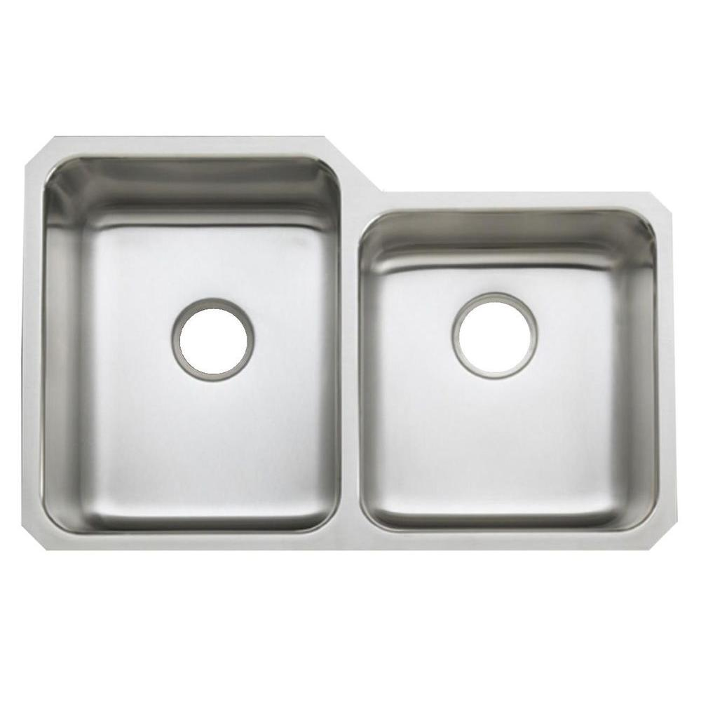 KOHLER Undertone Undercounter Stainless Steel 32 in. Double Bowl Kitchen Sink