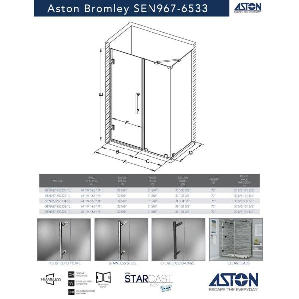 Aston Bromley 64 25 In To 65 25 In X 30 375 In X 72 In Frameless Corner Hinged Shower Door In Bronze Sen967ez Nbr 653330 10 The Home Depot