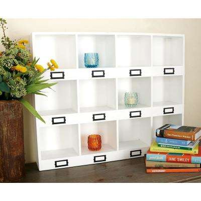 30 in. W x 24 in. H 12-Compartment Wood Wall Shelf in Beige with Rusted Iron Card Frames