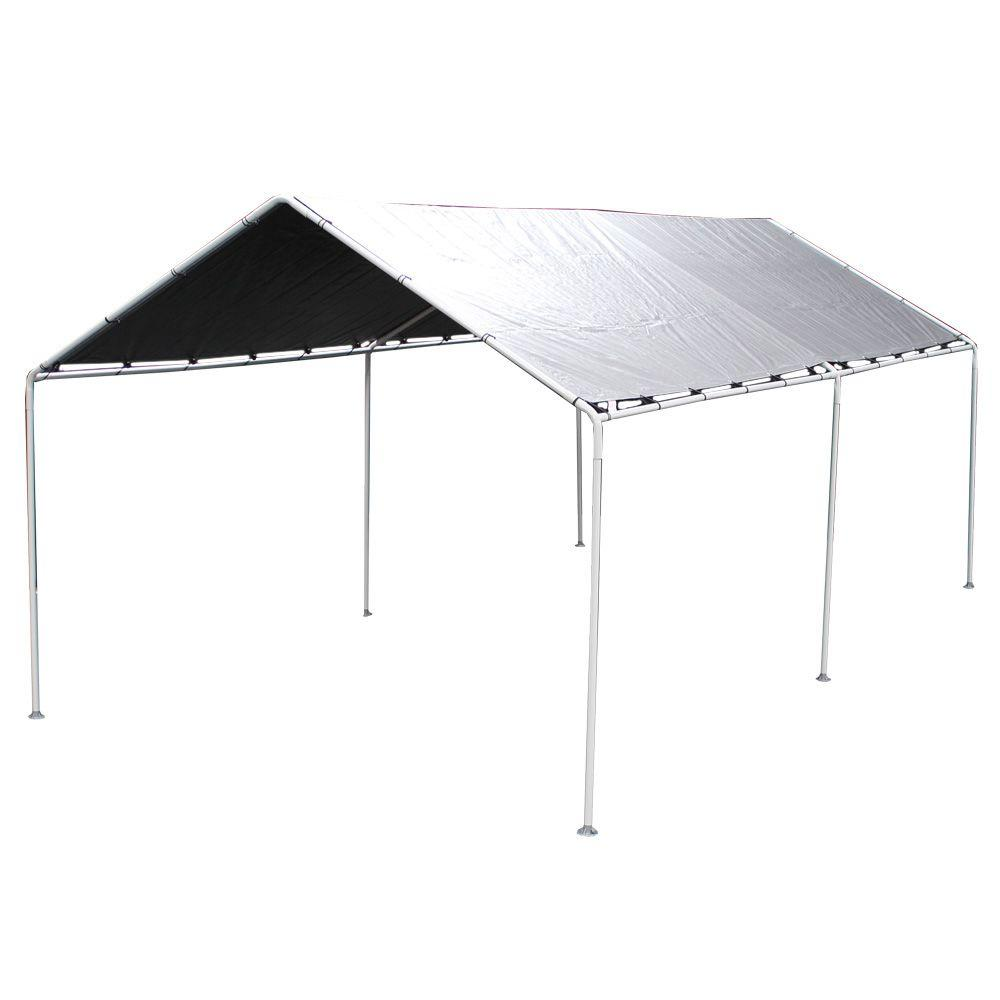 King Canopy 10 Ft. W X 20 Ft. D Silver Carport