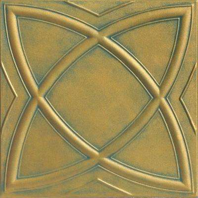 Elliptic Illusion 1.6 ft. x 1.6 ft. Foam Glue-up Ceiling Tile in Green Gold Patina