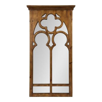 Medium Arch Brown American Colonial Mirror (31.5 in. H x 16.25 in. W)