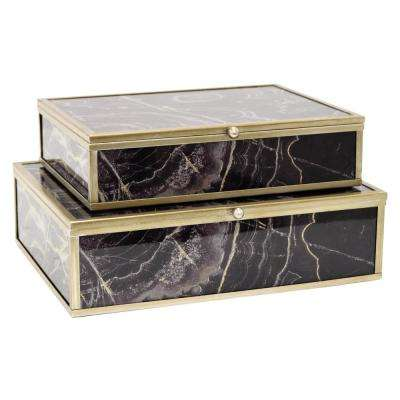 9 in. x 7 in. Glass and Metal Framed Boxes in Black (Set of 2)