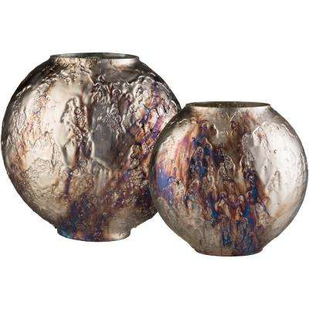 Askelo Beige Glass Decorative Vase Set (2-Piece)