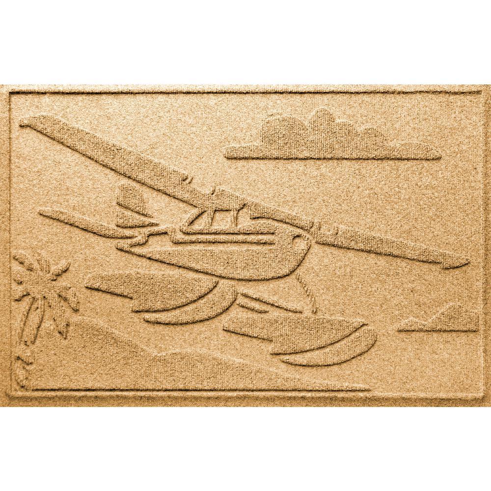 Gold 24 in. x 36 in. Sea Plane Polypropylene Door Mat
