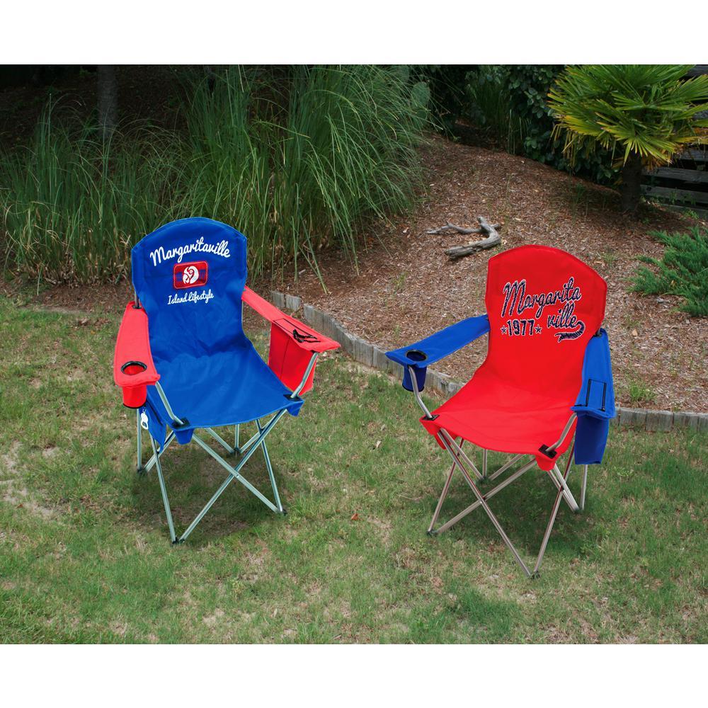 Island Lifestyle 1977 Blue/Red Steel Quad Lawn Chair