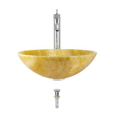Stone Vessel Sink in Honey Onyx with 718 Faucet and Pop-Up Drain in Chrome