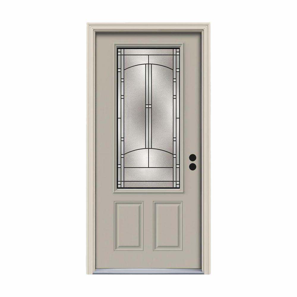 36 in. x 80 in. 3/4 Lite Idlewild Desert Sand Painted Steel Prehung Left-Hand Inswing Front Door w/Brickmould