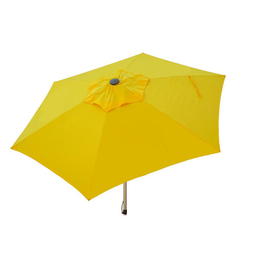 8.5 ft. Aluminum Manual Push-Up Tilt Patio Umbrella in Yellow Polyester