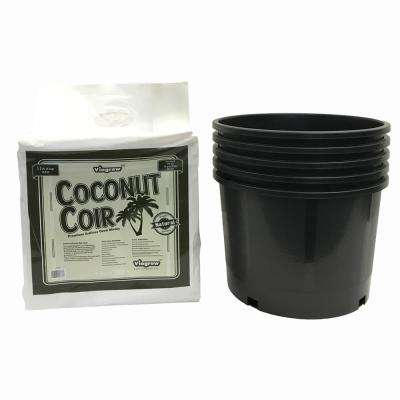 5 Gal. Nursery Pots with Coir Coco Grow Media 5-Pack of Pots and Coir Kit