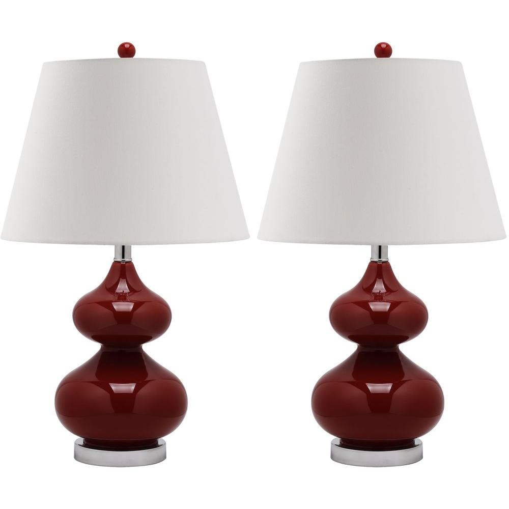 Eva 24 in. Chinese Red Double Gourd Glass Lamp (Set of