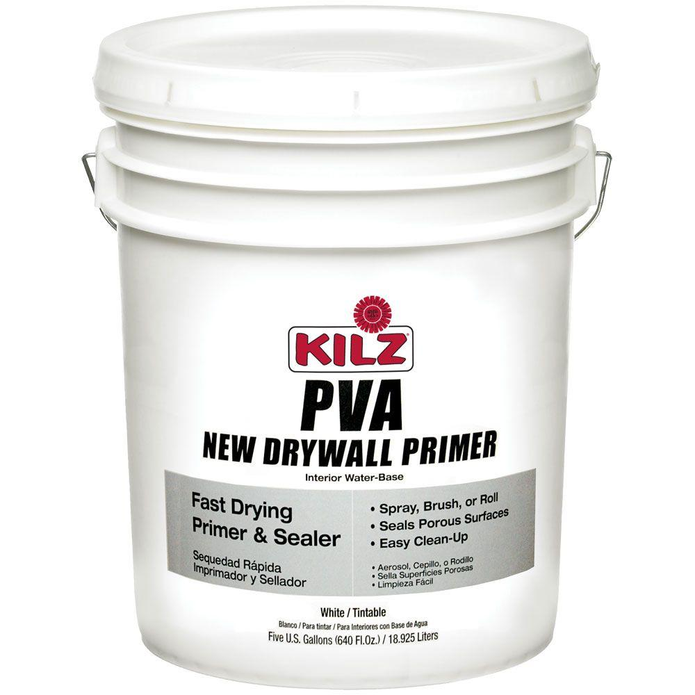 Kilz 5 Gal White Flat Pva Interior Drywall Primer L204005 The Home Depot