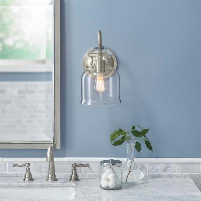 Garridan 1-Light Brushed Nickel Wall Sconce with Clear Glass Shade