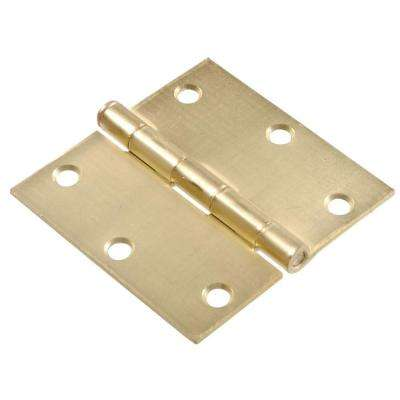 3.5 in. Satin Brass Square Hinge Full Mortise (18-Pack)
