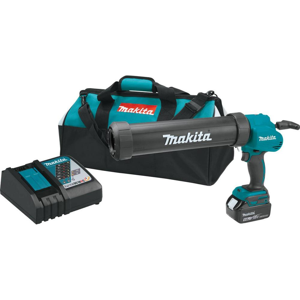 Makita 18-Volt LXT Lithium-Ion 29 oz. Cordless Caulk and Adhesive Kit with (1) 5.0Ah Battery, Rapid Charger, and Tool Bag