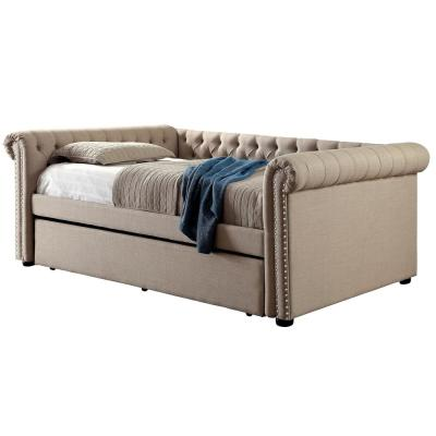 Leanna Beige Full Daybed with Twin Trundle