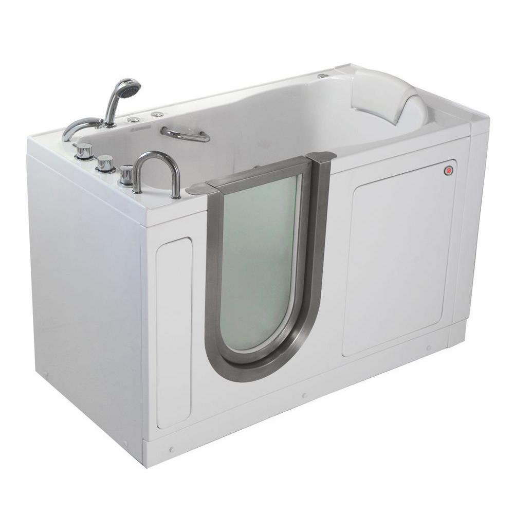 Deluxe 55 in. Acrylic Walk-In Whirlpool and MicroBubble Bathtub in White