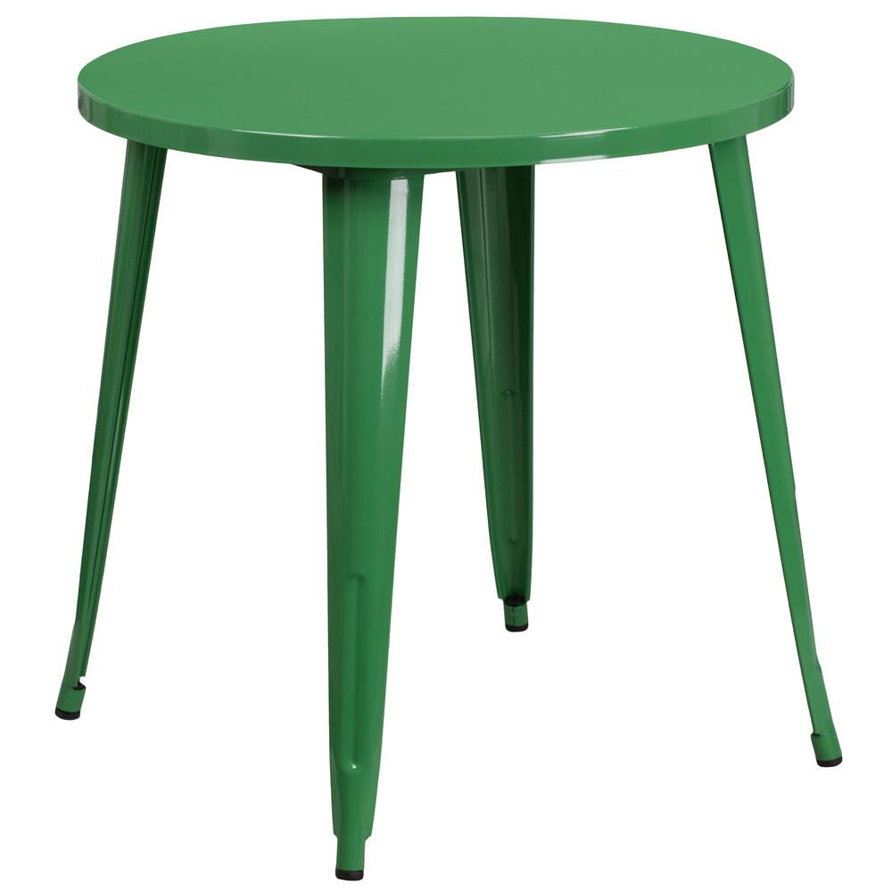 Green Round Metal Outdoor Bistro Table