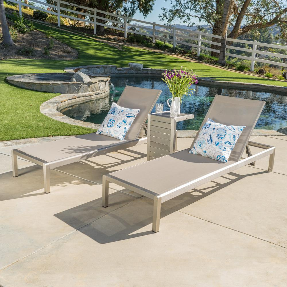 Noble House Cape Coral Silver 3 Piece Metal Outdoor Chaise
