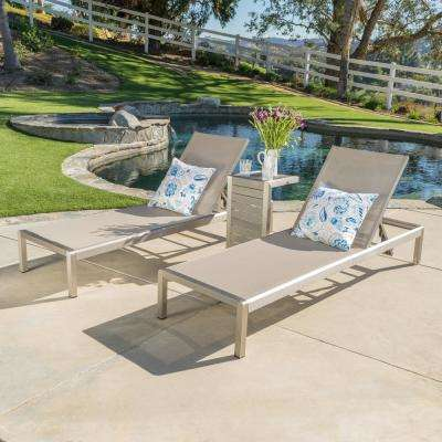 Cape Coral Silver 3-Piece Metal Outdoor Chaise Lounge
