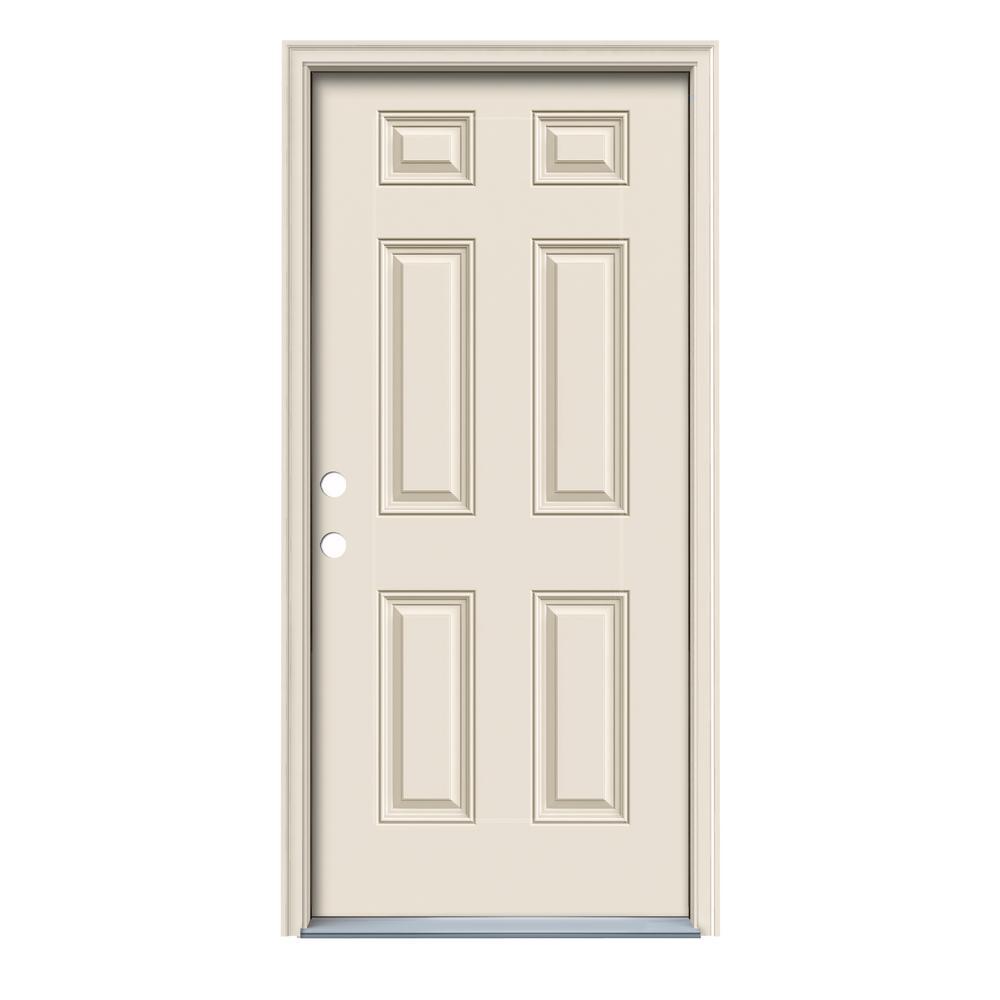 Jeld wen 36 in x 80 in 6 panel primed fiberglass prehung right hand inswing front door w for 36 x 80 fiberglass exterior door