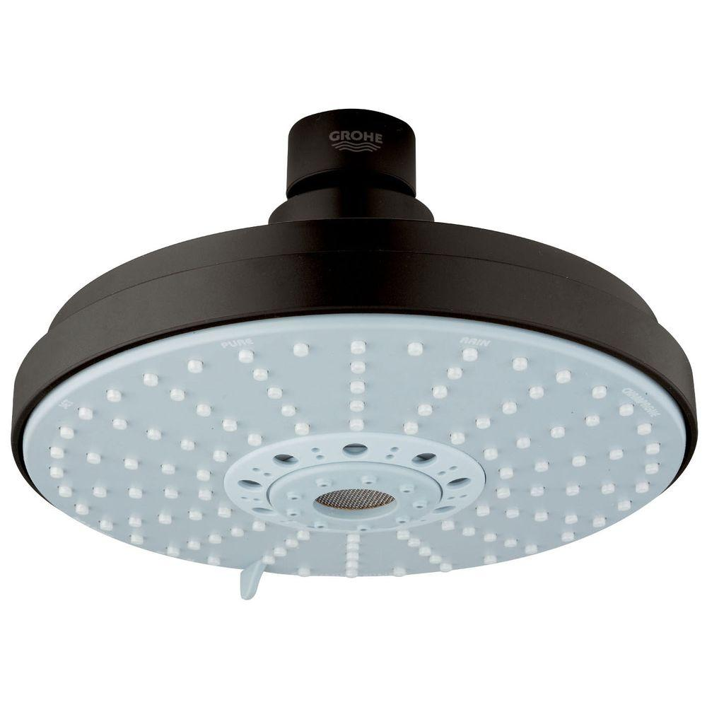 grohe rainshower 4 spray 6 1 4 in fixed shower head in oil rubbed bronze 27135zb0 the home depot. Black Bedroom Furniture Sets. Home Design Ideas
