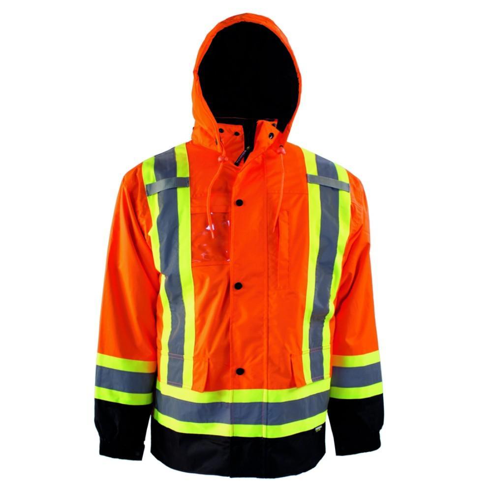Men's Large Orange High-Visibility 7-in-1 Reflective Safety Jacket