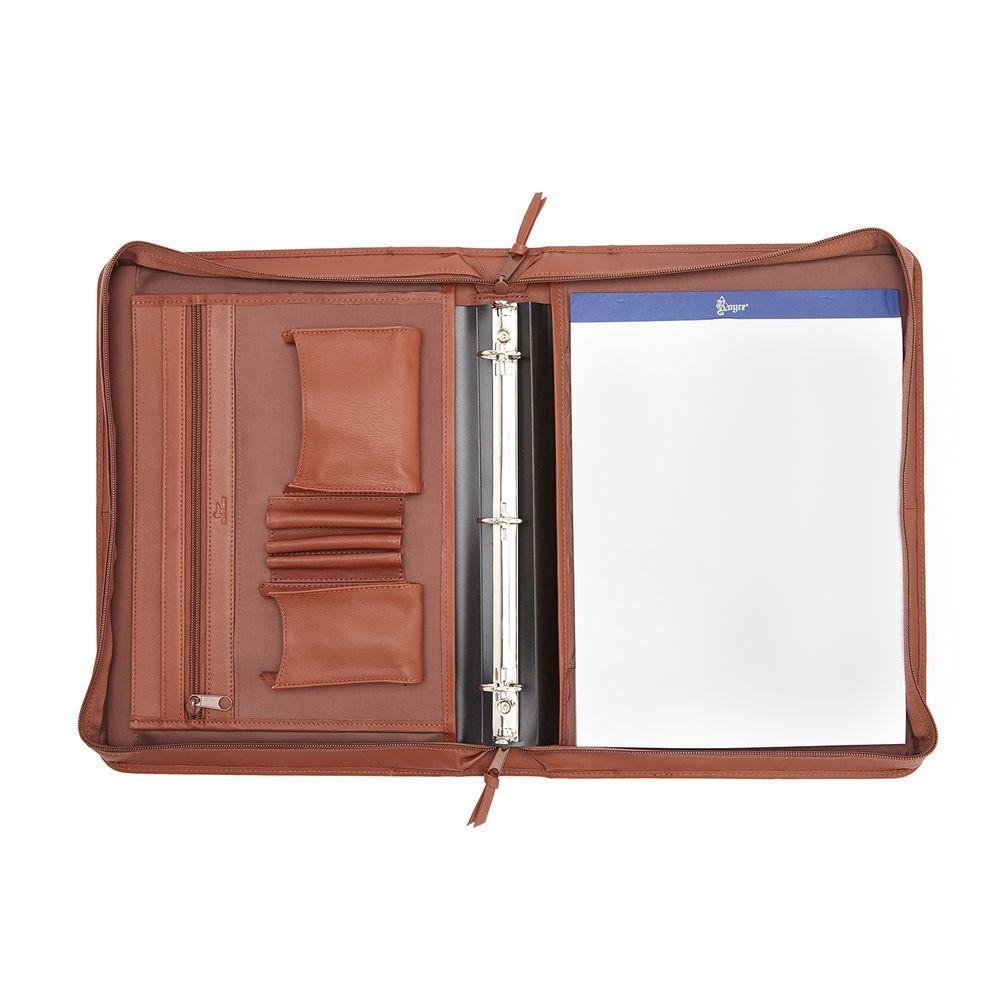 Executive Convertible Zip Around Binder Writing Portfolio in Genuine Leather