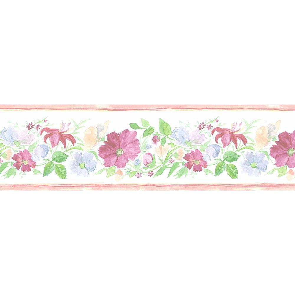 Norwall fluted floral wallpaper border pr79659 the home - Floral wallpaper home depot ...