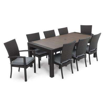 Deco 9-Piece Wicker Outdoor Dining Set with Sunbrella Sunflower Grey Cushions